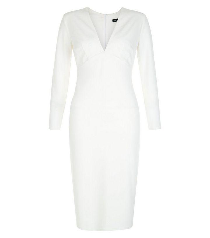 72f8ef098d17 White V Neck Long Sleeve Bodycon Dress