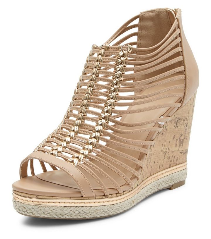 671adb9e950 Wide Fit Gold Woven Strap Wedges