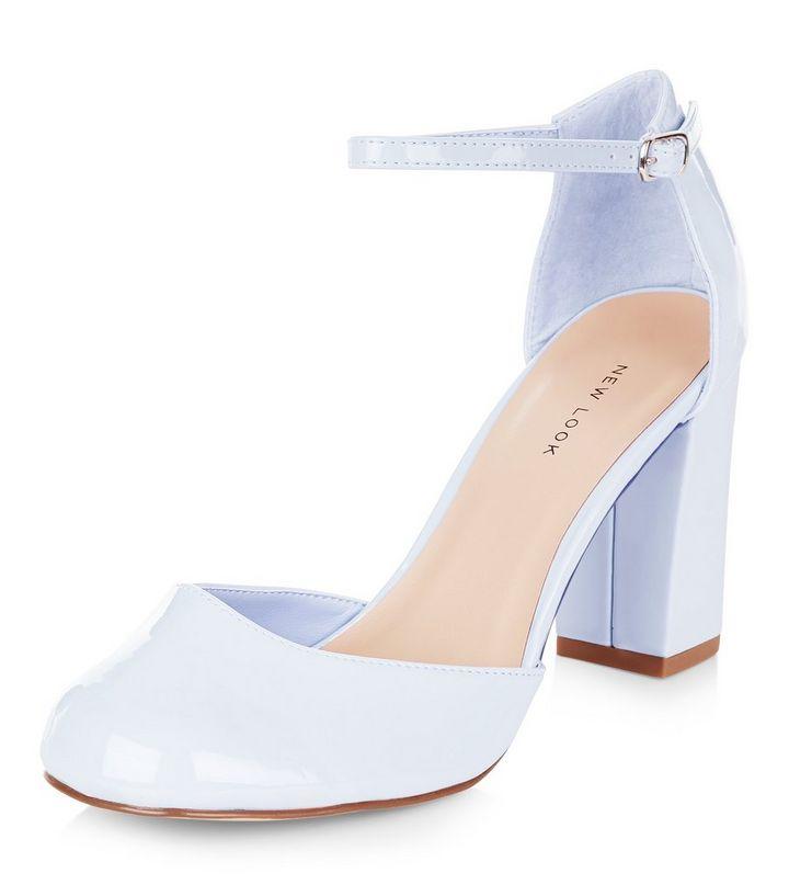 edc406bc32d Pale Blue Patent Ankle Strap Block Heels
