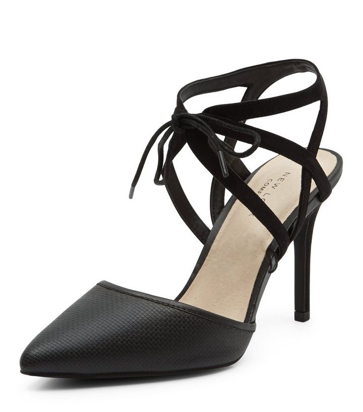 f43c7f6117 Black Comfort Lace Up Pointed Heels | New Look