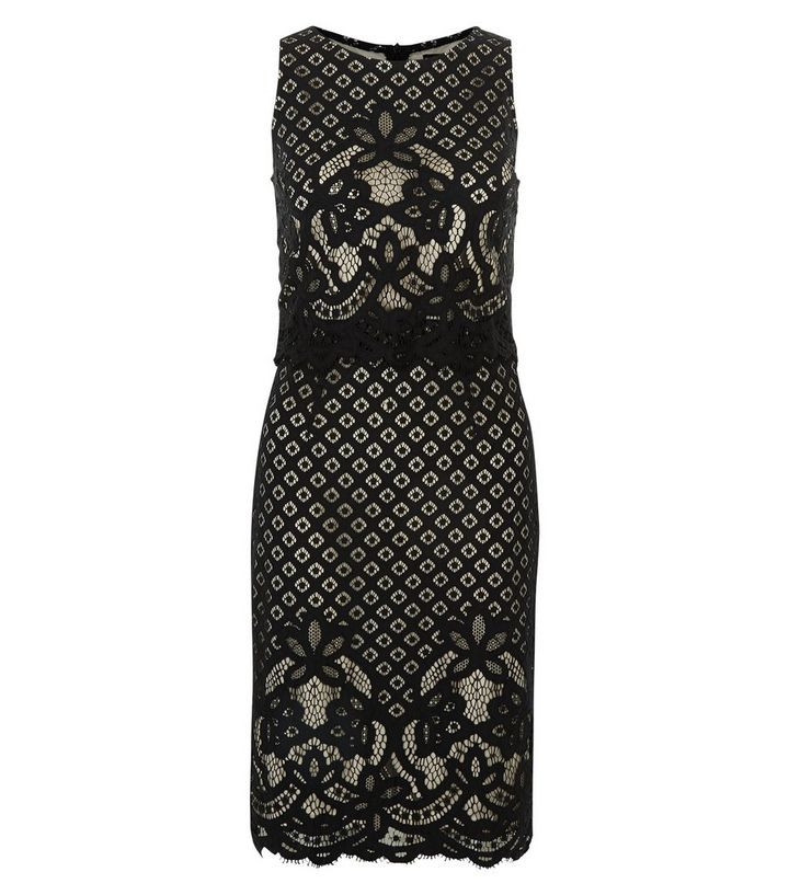 Black Lace Layered Bodycon Midi Dress  7bbd1e60aa