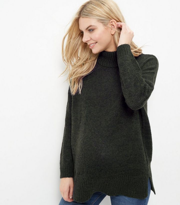 849173c6b026d Maternity Grey Turtle Neck Jumper | New Look