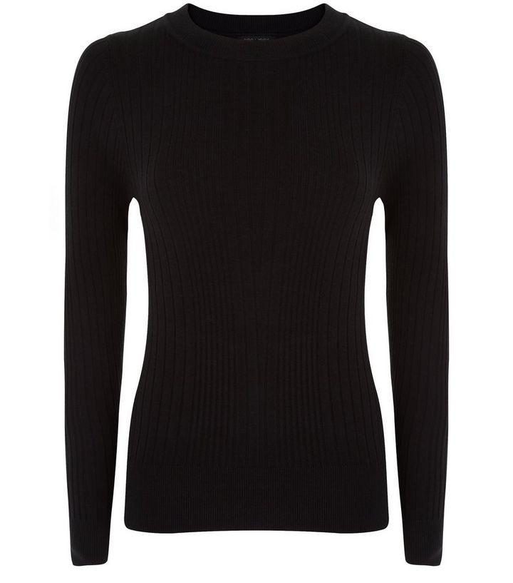 7f66d0abf4d09 Petite Black Ribbed Long Sleeve Top