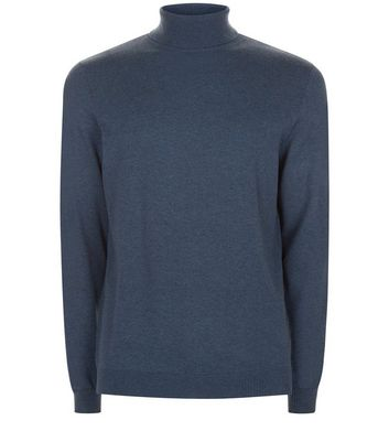 Blue Cotton Roll Neck Jumper New Look
