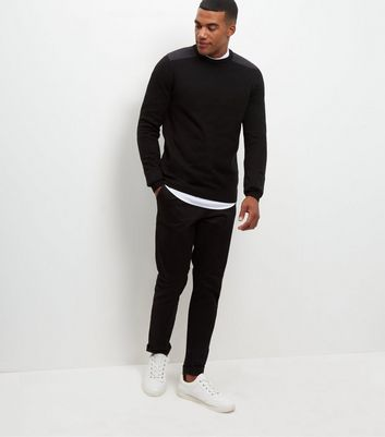 Black Textured Patch Jumper New Look