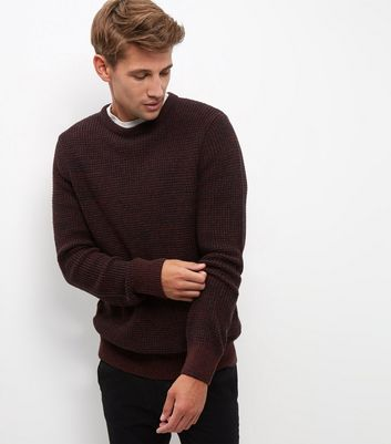 Burgundy Textured Jumper New Look