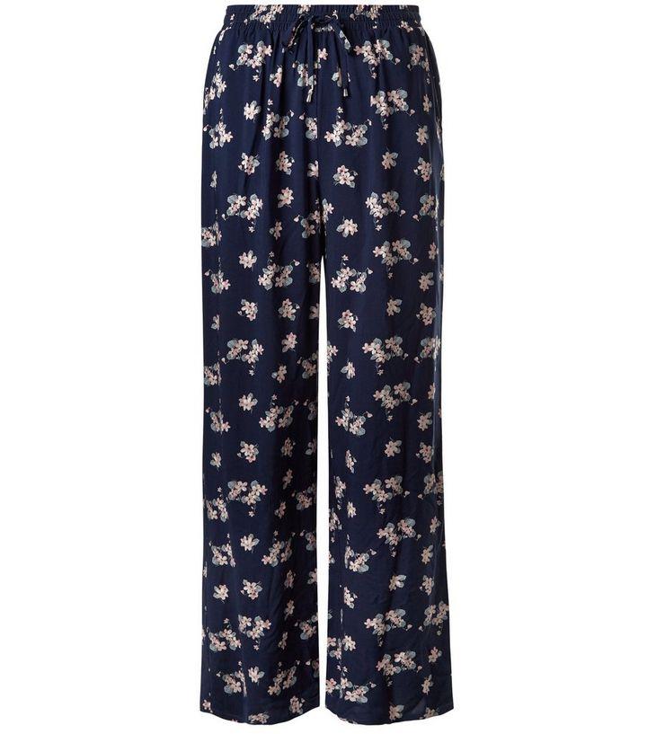 2047e82a8d5 Blue Floral Print Wide Leg Trousers