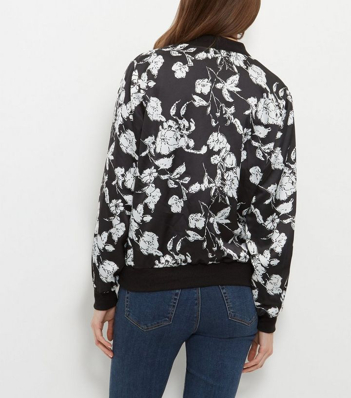e5d70b7b3 Black Floral Print Bomber Jacket Add to Saved Items Remove from Saved Items