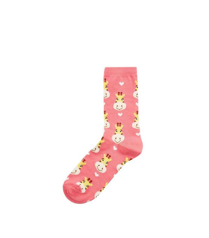 ec19f7468 Coral Giraffe Print Socks