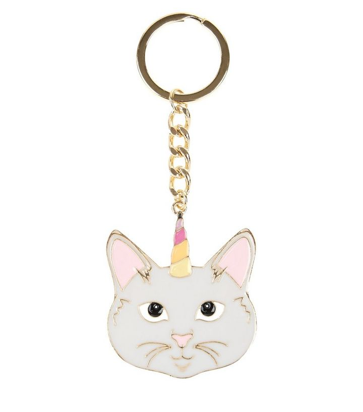 Grey Unicorn Cat Keyring  b4ce172252