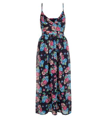 Mela Blue Floral Print Maxi Dress New Look