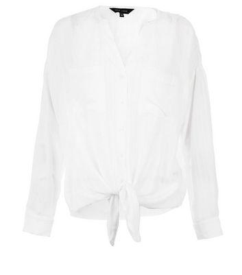 lazo larga blanca de manga Camisa con c4XqOYWwf