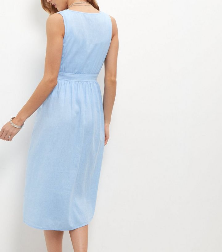 40272b5e5788 ... Pale Blue Button Front Deep V Neck Midi Dress. ×. ×. ×. Shop the look