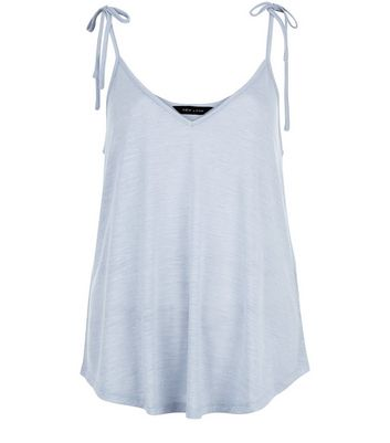 Pale Blue Tie Strap V Neck Cami Top New Look