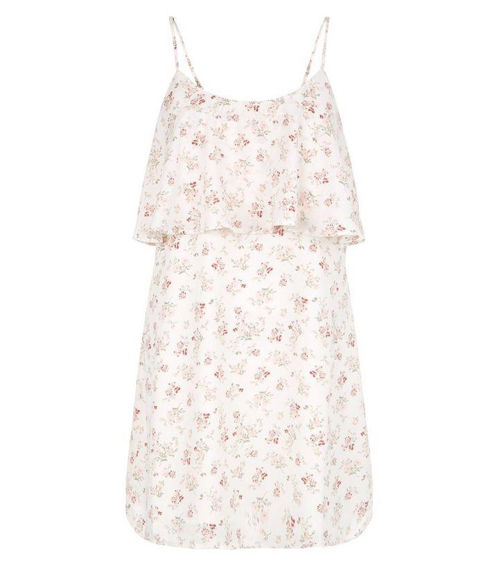 68531111ec8d Petite Cream Floral Print Layered Slip Dress | New Look