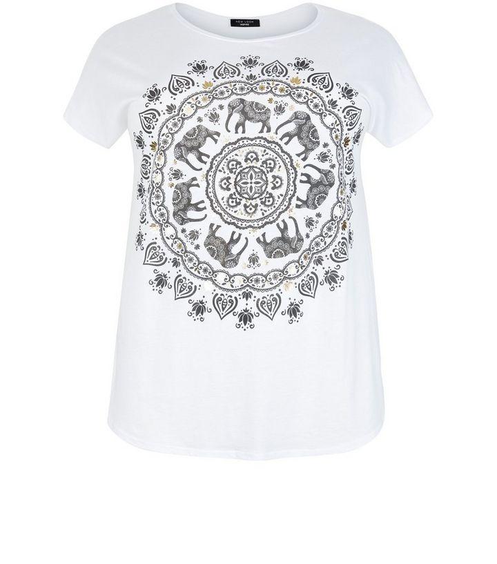 05bebe3bfcea7a Curves White Elephant Print T-Shirt