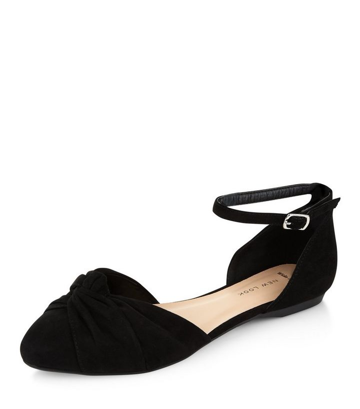 0ed2dcceac1df Wide Fit Black Knotted Front Ankle Strap Pumps   New Look
