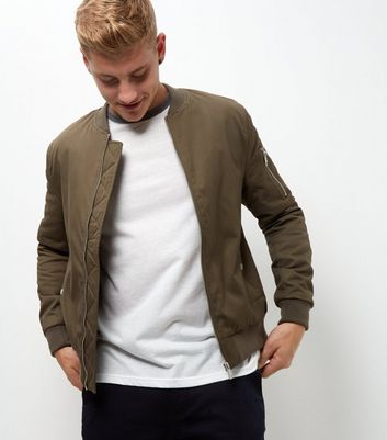 Khaki Zip Sleeve Bomber Jacket New Look