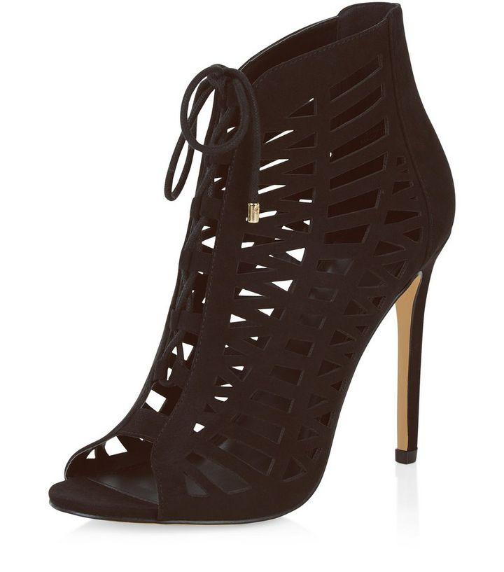 248037bb68357 Black Suedette Laser Cut Out Peep Toe Ghillie Heels   New Look