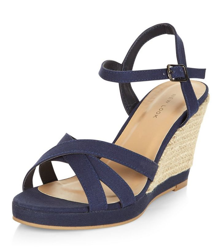 af4fbcb6d98 Navy Cross Strap Wedge Sandals Add to Saved Items Remove from Saved Items