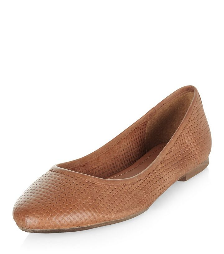 1d261470b Tan Leather Woven Ballet Pumps | New Look