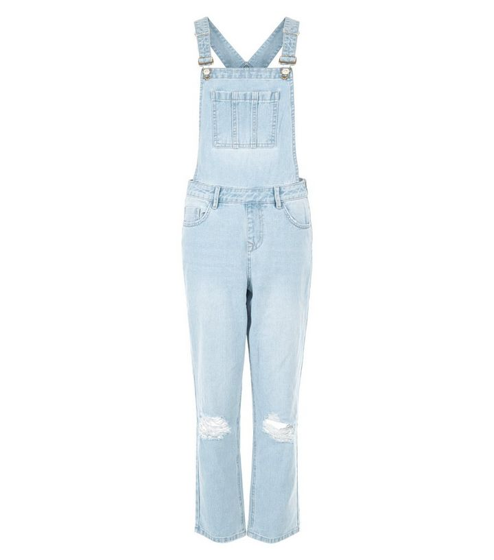 2b949269915 Light Blue Ripped Knee Denim Dungarees | New Look