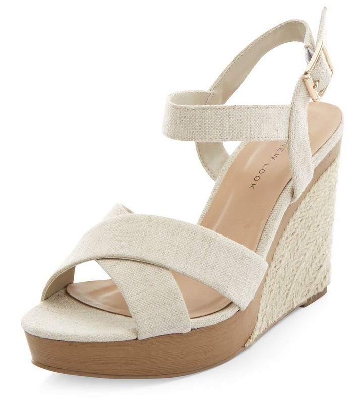 09e3cf253671 Wide Fit Cream Canvas Cross Strap Wedge Sandals