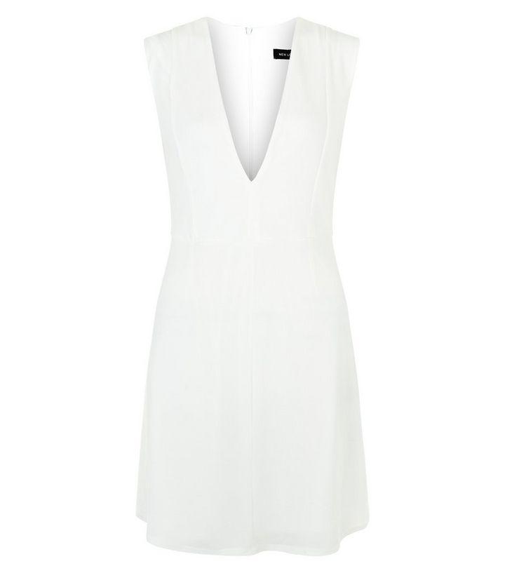 2e7d09a05c White Deep V Neck Sleeveless Shift Dress