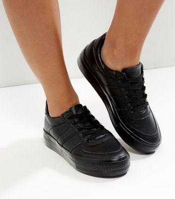 Wide Fit Black Leather-Look Trainers
