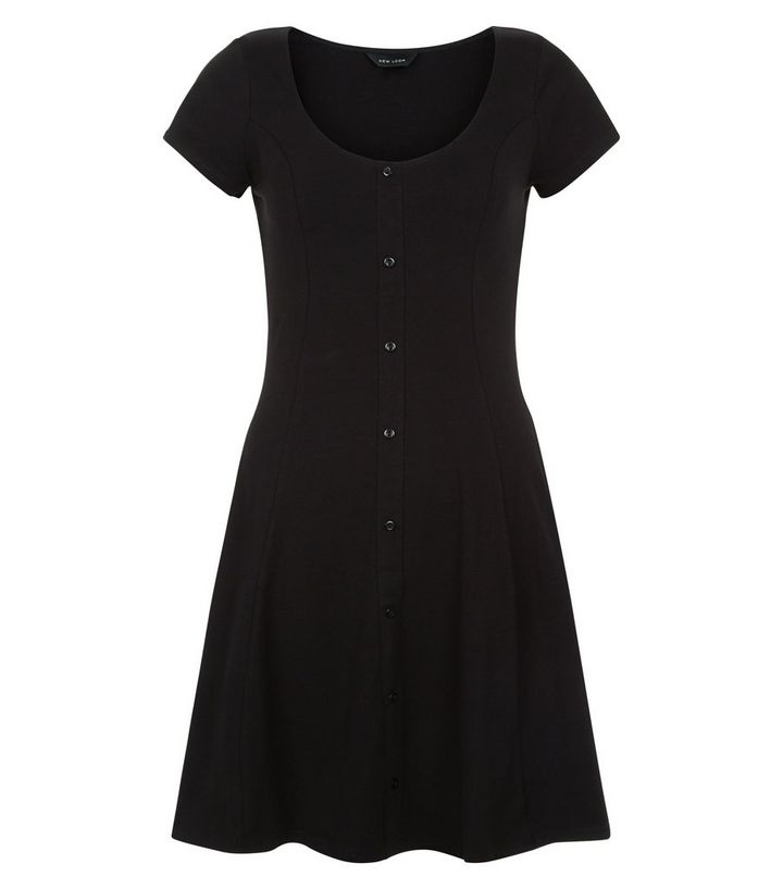 000431c28c12 Black Button Front Skater Dress | New Look