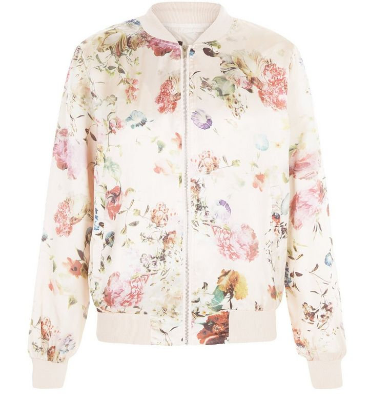 60448e29a Pink Floral Print Bomber Jacket Add to Saved Items Remove from Saved Items