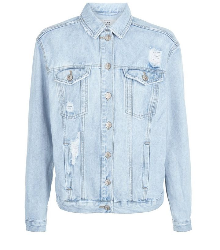 92a8a0fa8 Blue Slogan Ripped Oversized Denim Jacket Add to Saved Items Remove from  Saved Items