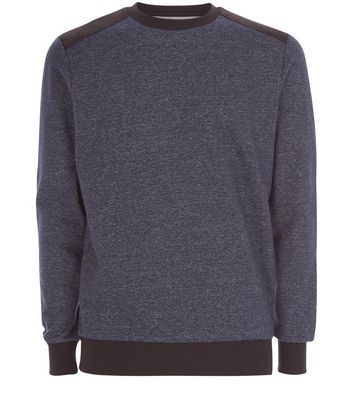 Navy Contrast Patch Crew Neck Sweater New Look