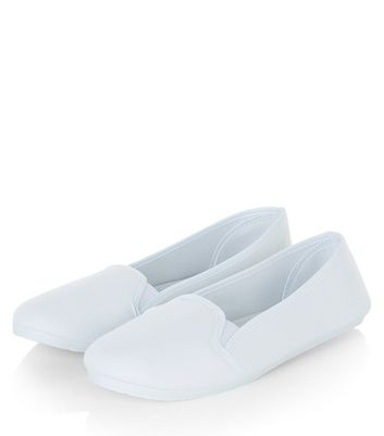 White Slip On Plimsolls | New Look