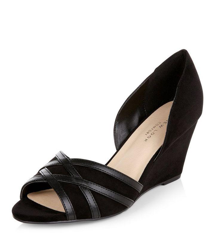d59fe046c8a Wide Fit Black Comfort Suedette Peep Toe Wedges