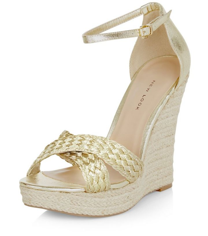 eab0add46c0 Wide Fit Gold Metallic Plaited Cross Strap Wedges Add to Saved Items Remove  from Saved Items