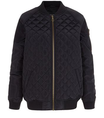 Black Quilted Panel Bomber Jacket New Look