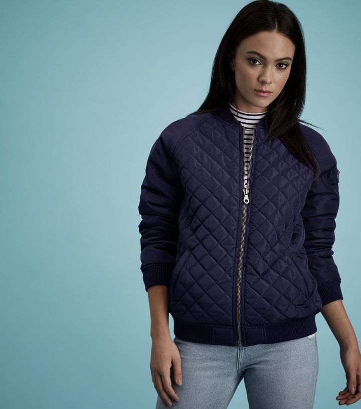 Navy Quilted Panel Bomber Jacket New Look