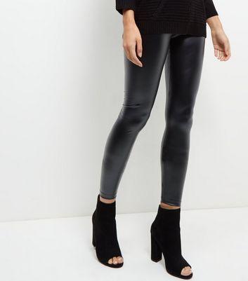 JDY Black Coated Leggings New Look