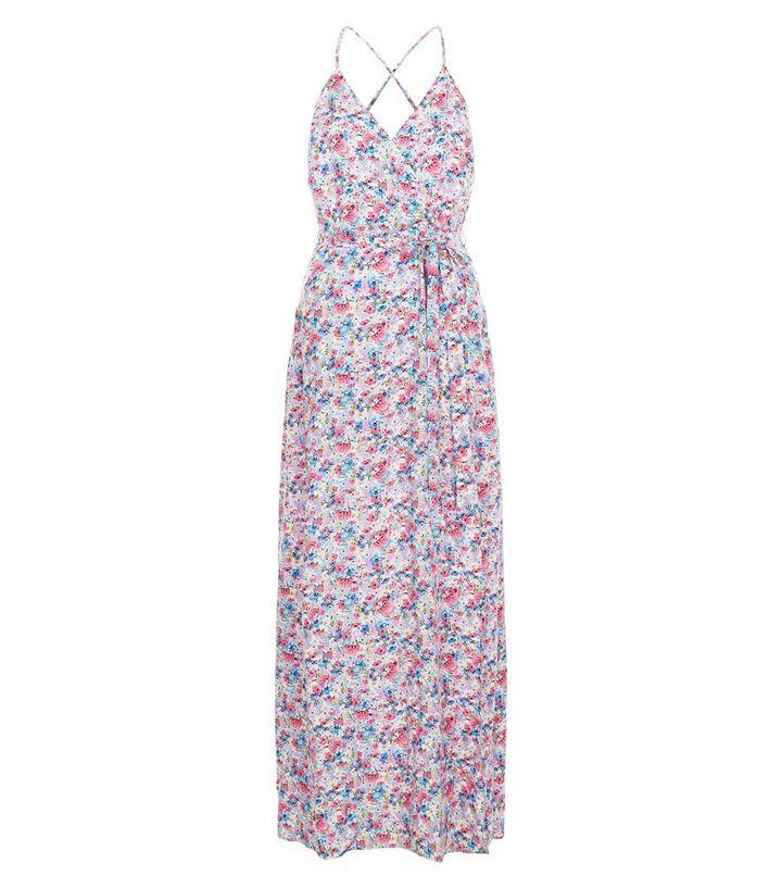 2736d4f763 White Ditsy Floral Print Wrap Front Tie Waist Maxi Dress