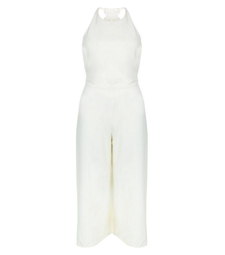 premium selection 92f9e 84728 Weißer, kurzer Jumpsuit mit Spitze hinten Für später speichern Von  gespeicherten Artikeln entfernen