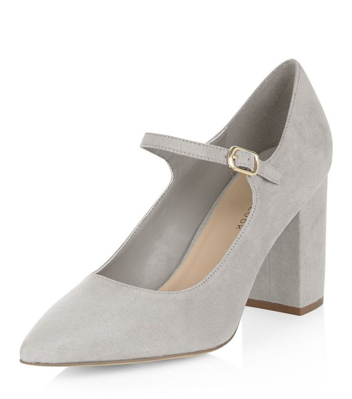 48bdbdd56ea Wide Fit Grey Pointed Mary Jane Block Heels