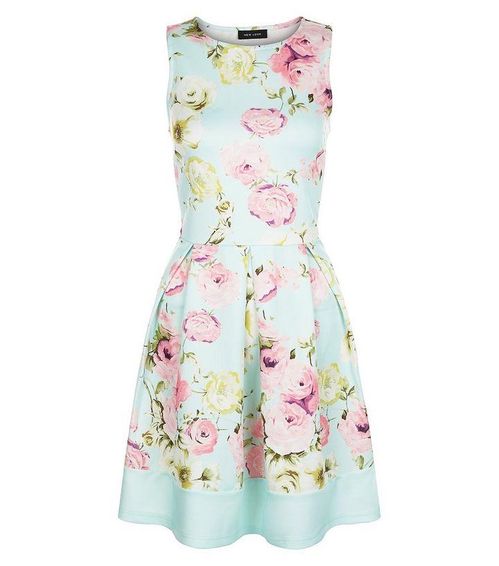 7c00387857ab Mint Green Floral Print Pleated Skater Dress