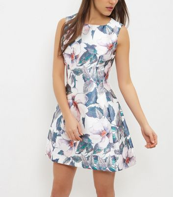 AX Paris Cream Floral Print Skater Dress New Look