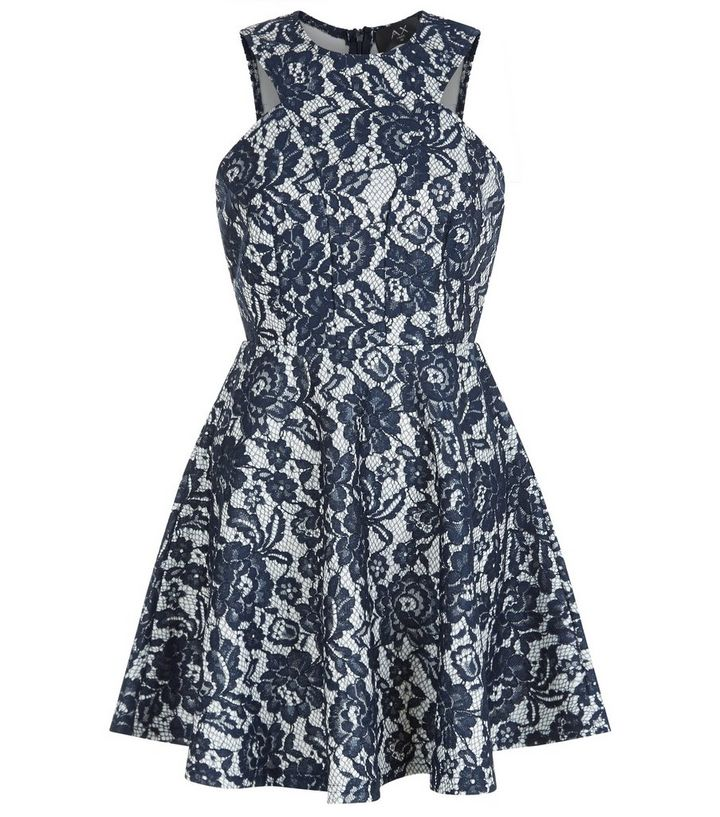 b9eb9774b0 AX Paris Navy Floral Print Lace Skater Dress