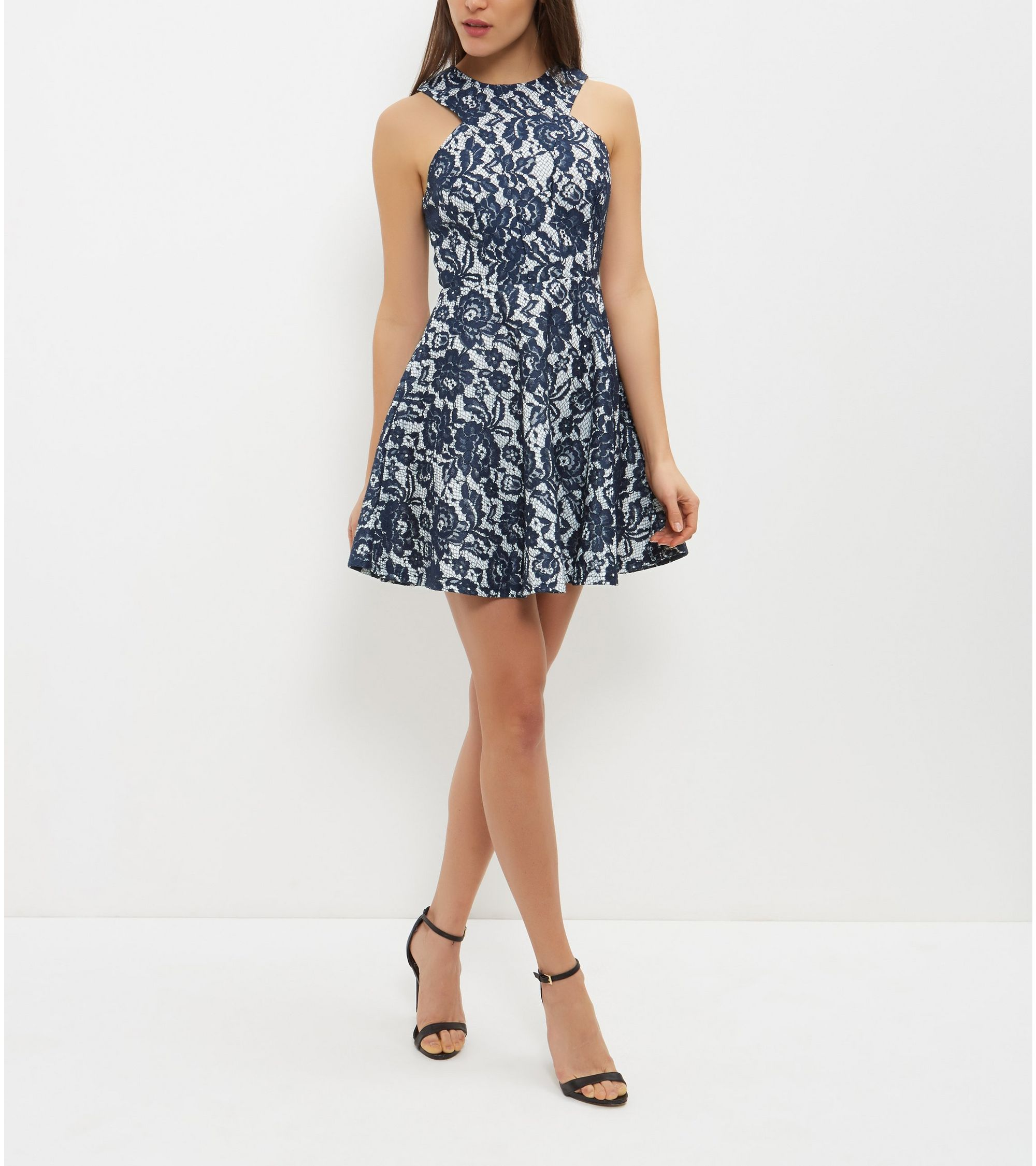 5ef518d3a7 New Look AX Paris Navy Floral Print Lace Skater Dress at £45