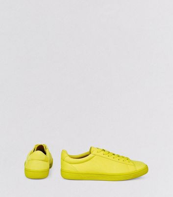 Lime Green Suedette Trainers New Look