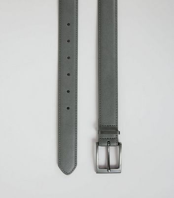 Grey Leather Look Belt New Look