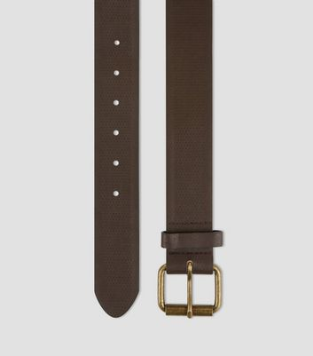 Dark Brown Textured Denim Belt New Look