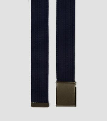 Navy Webbing Textured Belt New Look